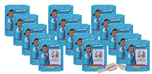 Panini - EURO 2020 Sticker Preview - Sammelsticker - 15 Tüten zusätzlich 1 x Fruchtmix Sticker-und-co Bonbon