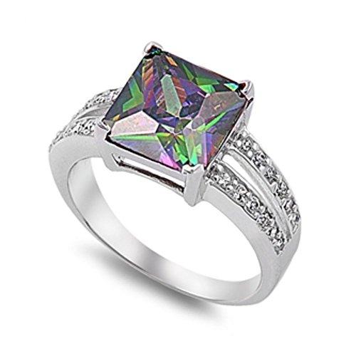 Ring aus Sterlingsilber mit Regenbogen Topas Zirkonia
