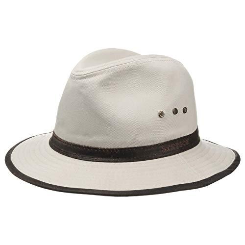 Stetson Chapeau Ava Coton Outdoor Homme - Outback en aventurier avec Bandeau Cuir, Passepoil Printemps-ete - XL (60-61 cm) Beige Clair