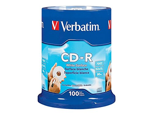 Verbatim CD-R 700MB 80 Minute 52x Recordable Disc with Blank White Surface - 100 Pack Spindle - 94712