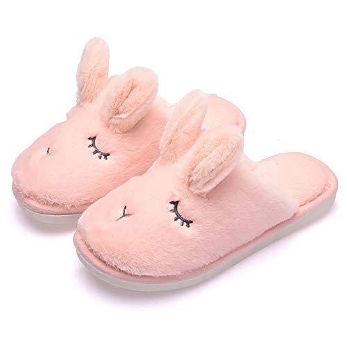 JIANKE Kuschelige Hausschuhe Damen Herren Plüsch Kaninchen Wärme Pantoffeln Weiche Home Antirutsch Slippers(Pink,40-41)