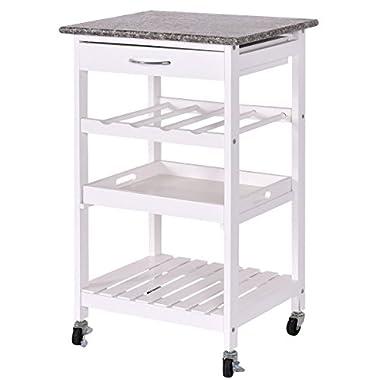 CHEFJOY 4-Tier Rolling Wood Kitchen Trolley Home Island Storage Cart w/Drawer Wine Rack