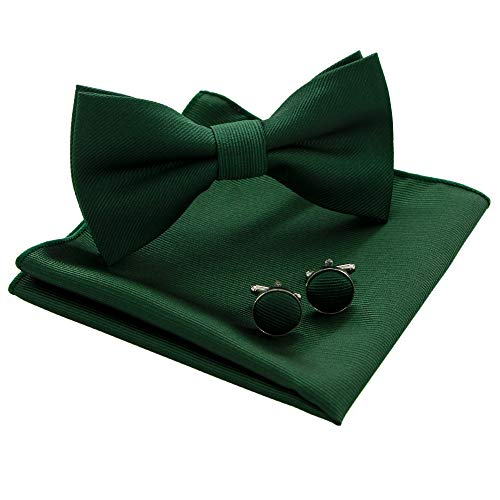 JEMYGINS Green Bow Tie Silk Bowtie and Pocket Square Hankerchief With Cufflinks Sets for Men(3)