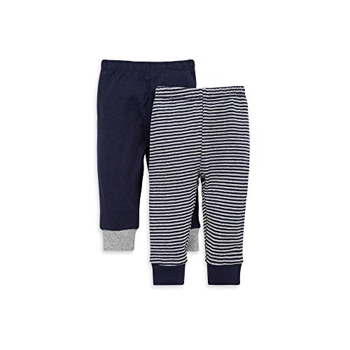 Burt's Bees Baby Baby Pants, Set of 2 Lightweight Knit Infant Bottoms, 100% Organic Cotton, Navy Solid/Stripes, 12 Months
