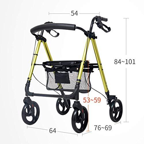 MJY Tragbare Einkaufswagen-Einkaufen-faltender Rollstuhl-älterer Wanderer-Aluminiumblock, 1 kreatives Haus