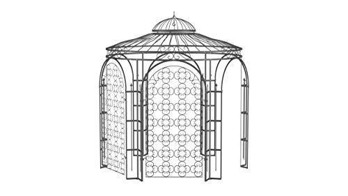 ELEO Milano wunderschöner Gartenpavillon Winterfest mit 2 x Rankgitter Rosa I Stabiler Rundpavillon Anthrazit Ø 2,9 m I Romantischer Rosenpavillon aus Schmiedeeisen I Pavillon für Garten