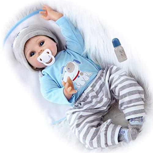 ZIYIUI 22 Pollici 55 Centimetri Reborn Bambino Bambola Realistico Bambole Reborn Maschio Morbido Silicone vinilico Magnetica Bocca Bella Giocattoli