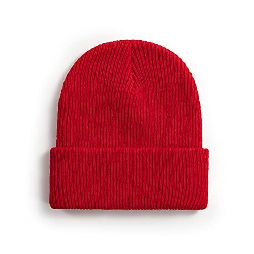 XCBHJXD Otoño de la Mujer Invierno Moda Punto de Punto Hombres de Encargo Hombres de Invierno Warm Wrap Aletar Hat de Lana Alargada (Color : Red, Hat Size : One Size)