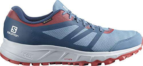Salomon Trailster 2 GTX Zapatillas Impermeables Trail Running Hombre , Azul (Copen Blue/Pearl Grey/Chili Pepper), 44 EU