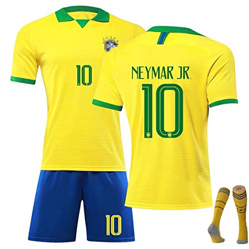 Camiseta de Punto de Alto Rendimiento de Brasil, Camiseta de fútbol de Local y visitante de la Copa Mundial Hombres Uniforme de fútbol para niños, Regalos para niños