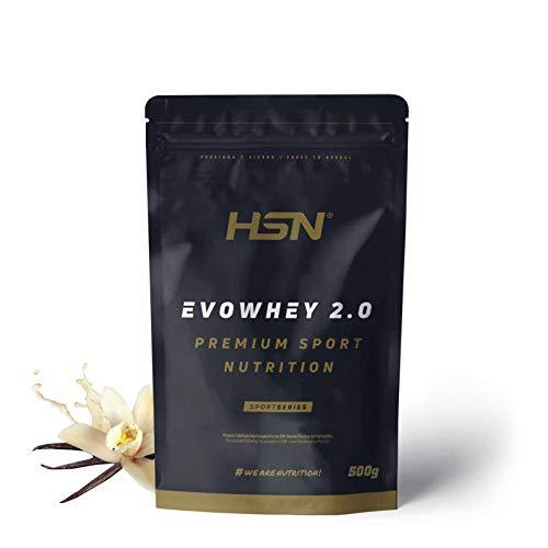 Concentrado de Proteína de Suero Evowhey Protein 2.0 de HSN | Whey Protein Concentrate| Batido de Proteínas en Polvo | Vegetariano, Sin Gluten, Sin Soja, Sabor Vainilla, 500g
