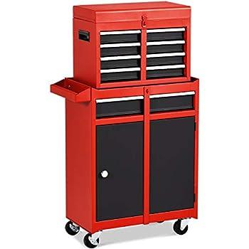 Goplus 5-Drawer Rolling Tool Chest Tool Storage Box Removable Tool Cabinet Sliding Metal Organizer w/Lockable Drawers  Red+Black