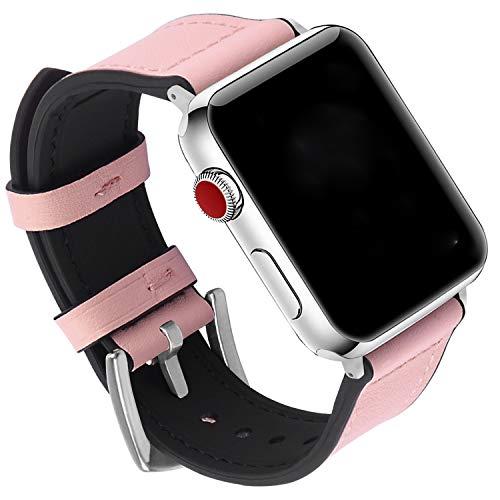 GerbGorb Correa de silicona para reloj Apple de 38 mm, 42 m, 40 mm, 44 mm, correa de piel de goma ultra suave para Apple Watch Series 5/4/3/2/1, Unisex adulto, Hebilla rosa/plateada., 38mm/40mm