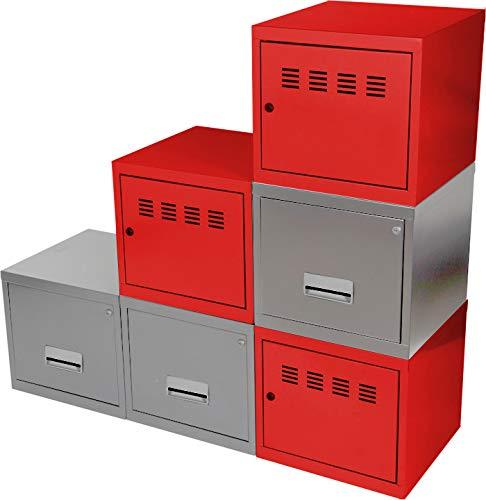 Cube à Porte et Tiroir avec avec Kits de Liaison, Rouge/Aluminium, Lot de 6
