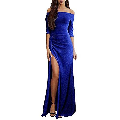 Zegeey Damen Schulterfreies Kleid als Abendkleid Paket-Hüfte-Kleid Partykleid Ballkleid Maxikleid elegant glänzend und hoch geschnitten Karneval Fasching Fasnacht Cocktailkleid