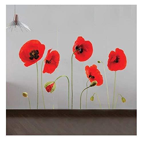 Rojo Amapola Flores extraíble TRANSPARENTE Decoración Pared Pegatinas Calcomanías