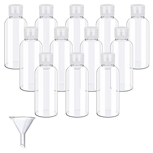 SPEACOUR 12 PCS Botellas Vacías de Plástico Botella Cosmética Transparente Botellas de Viaje con 1 Embudo Botes Viaje para Cosméticos Champú Accesorios de Viaje (50ml)
