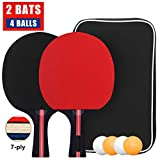Table Tennis Set, Professional Ping Pong Racket Paddle Set with 2 Bats and 4 Balls in Carry Bag, Table Tennis Bats and Balls with Case ideal for Kids Adults 2 Player Set