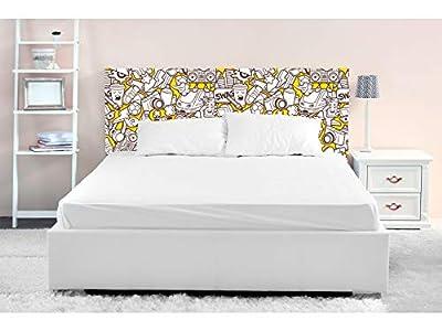 Cabecero fabricado en PVC de 5mm Cabecero de cama impreso digitalmente en PVC Cabecero ecónomico ideal para decoración de habitaciones Medidas: 150 cm de largo x 60 cm de alto Fácil colocación, resistente, ligero, aislante y de larga durabilidad