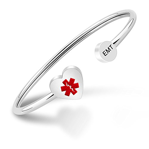 PLITI Caduceus Medical Symbol Cuff bracelet EMT Jewelry RN Gifts for women (Silver)