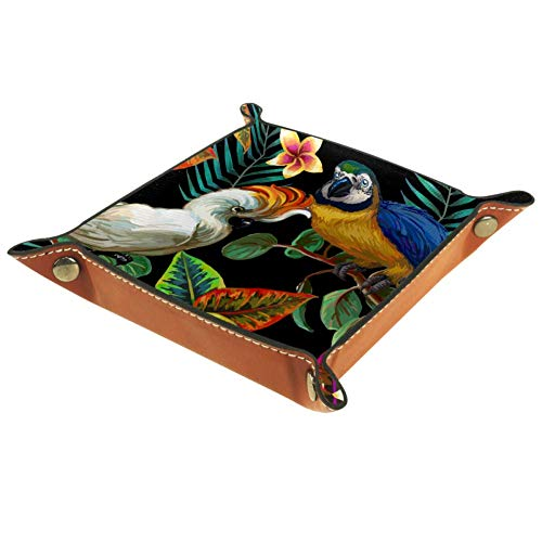 MUMIMI Damen Mädchen Leder quadratisch Schüssel Schmuck Tablett Dreieck und Fahrrad Silhouette Muster Muttertag Geburtstag Geschenk, Leder, Farbe3, 16 x 16 cm