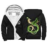 WellWellWell Dragon Green DRAGON - Sudadera con capucha para hombre, forro de lana, con capucha, de terciopelo, con bolsillos, Hombre, blanco, L