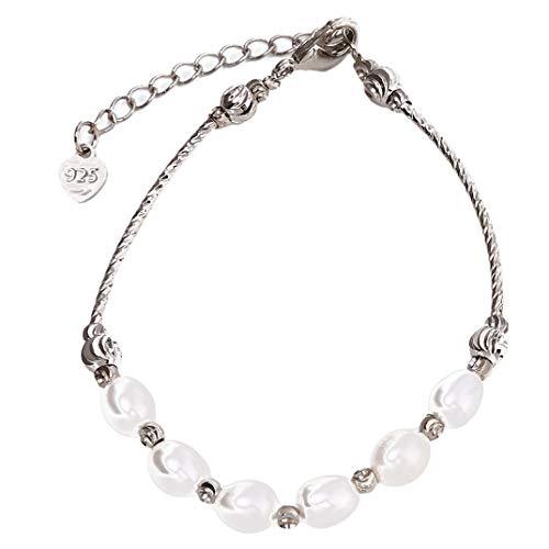 DYSCN Einfaches Armband Multi Faux Perle Perlen Armband Rohr Armreif Elegantes Zubehör für Frauen Mädchen Schmuck Geschenke Wild, Weiß