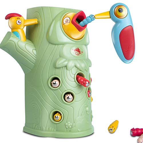 UNIH Magnetic Toddler Toy for 2-4 Year Old Girls Boys, Catching and Feeding Game Woodpecker Toy Fine...