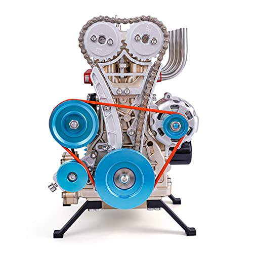 Motor Stirling de Metal Completo, Modelo de Motor de Coche En Línea de Montaje de Bricolaje de 4 Cilindros, Kit de Construcción, Motor de Escritorio, Juguete para Pasatiempos para Adultos