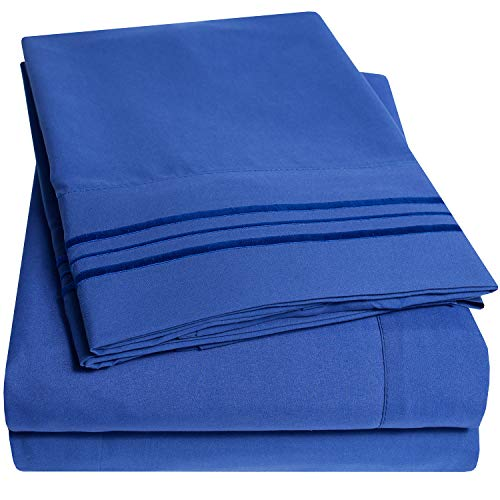 1500 Thread Count 3pc Bed Sheet Set Egyptian Quality Deep Pocket - Twin, Royal Blue