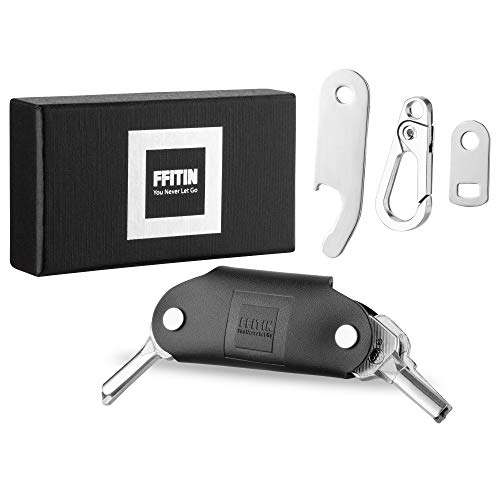 FFITIN Smartkey Handmade - Key Organizer Schlüssel Organizer Keycage Schlüsselmäppchen Smartkey Schlüsseletui Schlüsseltasche aus echtem Leder (Schwarz)