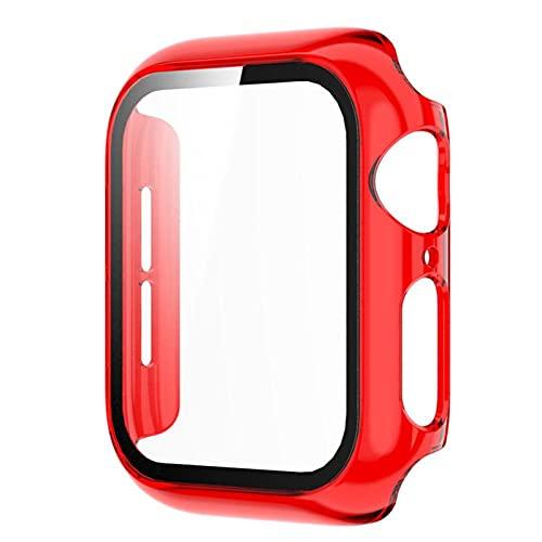 DLDQMY Protector de pantalla transparente para reloj SE Case Series 6 5 4 3 PC Bumper con película de vidrio templado 40 mm, 44 mm, 38 mm, 42 mm (color: rojo claro, diámetro de la esfera: 38 mm)