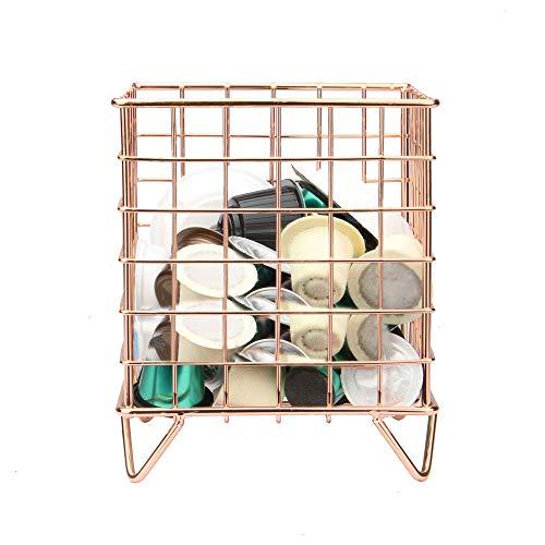 Porte-cage à dosettes de café | Compatible Nespresso et Tassimo | Panier en fil métallique | Stockage des capsules | Décor géométrique | M&W (Or rose)