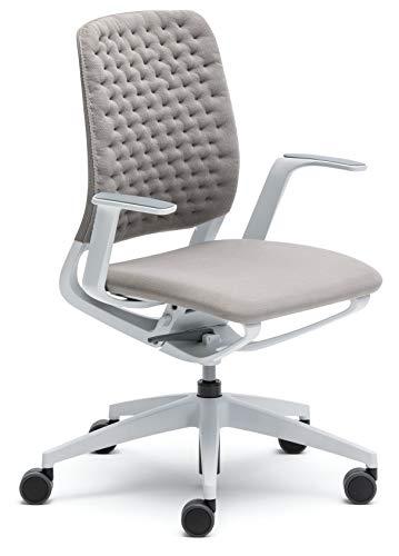 Bümö sedus semotion, bureaustoel, design, draaistoel, draaistoel, draaistoel, draaistoel Air Knit lichtgrijs/wit | met kussen | met armleuningen