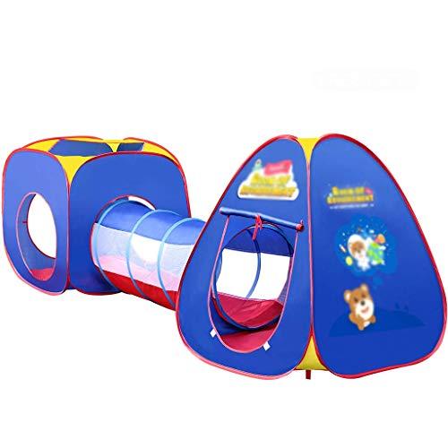 SHWYSHOP Tienda de campaña 3 en 1 para niños, canal de gateo y agujero de bola, sala de juegos interior/exterior, fosa de bola + caja de almacenamiento