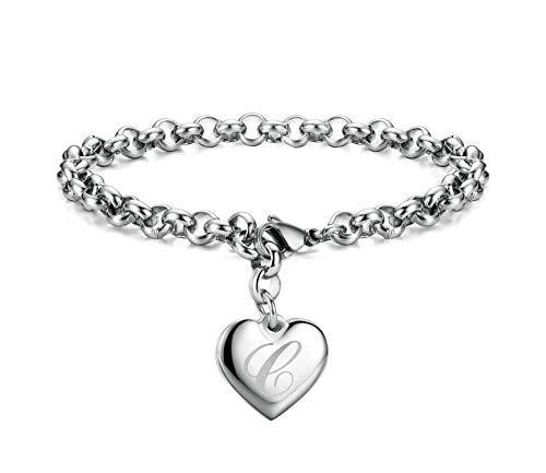 Initial Charm Bracelets Stainless Steel Heart Letters C Alphabet Bracelet for Women