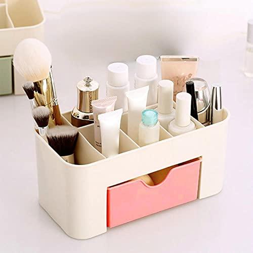 Caja de almacenamiento de cosméticos Organizador de cajones de maquillaje Joyas Esmalte de uñas Contenedor de maquillaje Caja de almacenamiento de artículos diversos de escritorio - Rosa, ESPAÑA