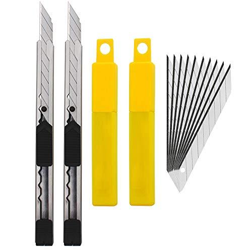 Gebildet 2pcs Edelstahl Cuttermesser mit 20pcs 9mm Abbrechklingen / 30 Grad Folienmesser/Profi Teppichmesser/Grafikmesser/optimal für Folien,Tapete, Bastelarbeiten, Kartons