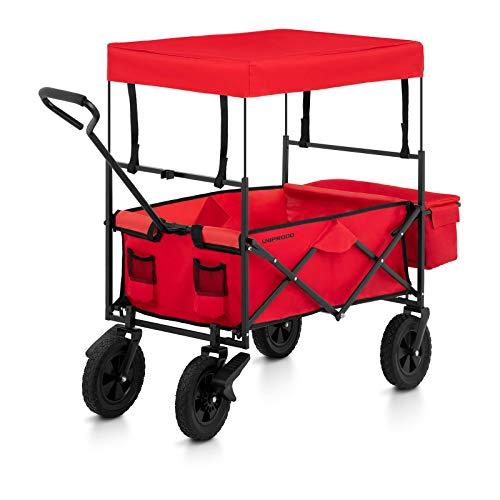 Uniprodo Uni_CART_03 Bollerwagen faltbar mit Dach und Bremsen rot Tragkraft 100 kg Vollgummiräder