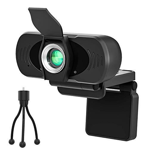 PASONOMI Webcam mit Mikrofon Stativ, Autofokus/Stereo Kamera mit Webcam Abdeckung 1080P HD USB Plug&Play, für PC, Skype, Laptop, Zoom, Live-Streaming, Videochat-Aufnahme, Konferenz