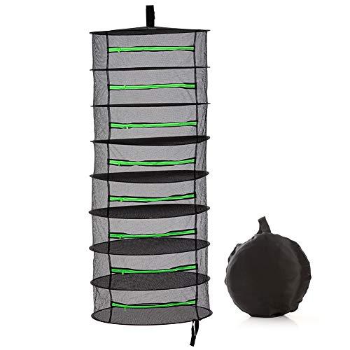 Herb Drying Rack Hanging 8 Tier 2ft Black Mesh Dryer Dry Net with Zipper Hydroponics