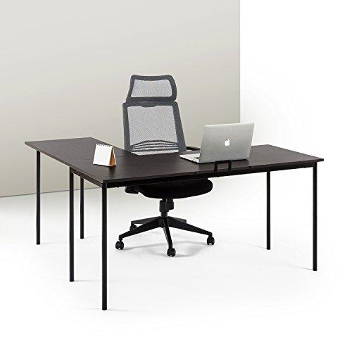 ZINUS Dominic 59 Inch Black Metal Corner Desk with Storage Drawer / L-Shaped Computer Desk / Office Desk / Easy, Bolt Free Assembly, Espresso