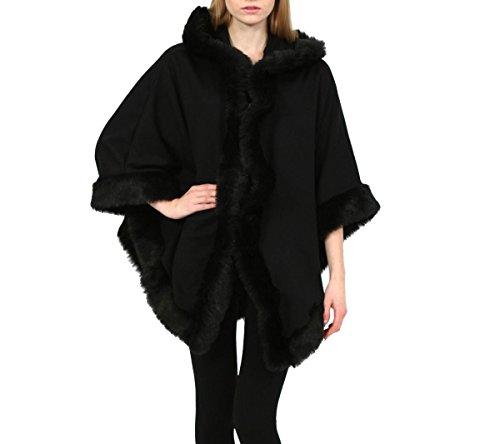 Baleza Damen-Poncho mit Kunstpelzbesatz, von Promis inspiriert, Italienischer Stil, mit Kapuze, für den Winter, wasserabweisend, Größe 36-46, schwarz