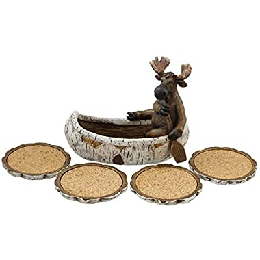 Decorative Moose Canoeing Coaster Set - 4 Rustic Cork Coasters & Holder Set