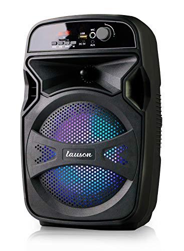 Lauson LLX34 Altavoz Portátil Función de Karaoke | Bluetooth Speaker con Lector USB/SD para MP3 | Altavoz Bluetooth con Luces RGB Multicolores | Batería Recargable con 6 hr autonomía | Radio Integrada