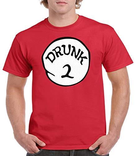 GALITI Drunk 1 Drunk 2 Drunk 1,2,3,4,5, Funny Group T-Shirt (M, Drunk 2) Red
