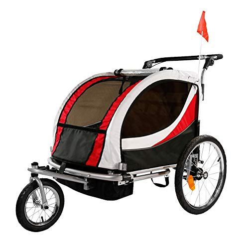 ClevrPlus Deluxe 3-in-1 Double 2 Seat Bicycle Bike Trailer Jogger Stroller for Kids Children   Foldable w/Pivot Front Wheel, Red
