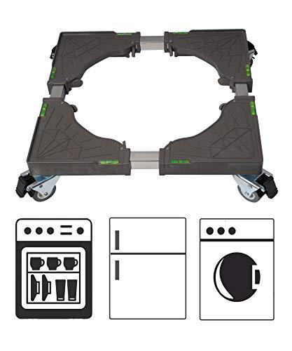 Base Lavadora Base Móvil Ajustable 42.5-68cm con 4 Ruedas Giratorias de 360° Doble de Goma, Soporte para Lavadora Secadora Refrigerador por Poweka
