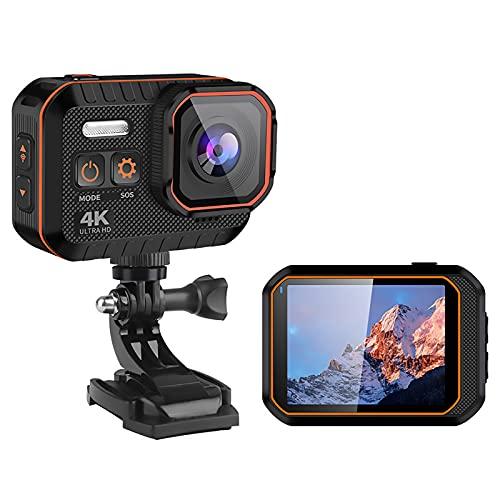 Action Cam 4K 20MP Fotocamera Subacquea Fotocamera Action Cam Fotocamera WiFi per Casco con Telecomando 2.4G 170 ° Grandangolare