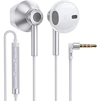 Linklike Quad Dynamic Drivers Air-Flow Hi-Res Extra Bass Headphones Noise Isolating Wired Earbuds with Microphone Lightweight Earphones with Volume Control 3.5mm in-Ear Headphones Silver/White